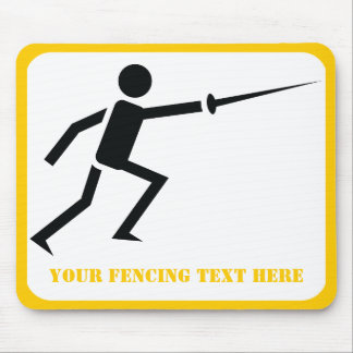Fencer black silhouette fencing custom mouse pad