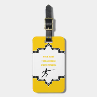 Fencer black silhouette with sword fencing custom bag tag