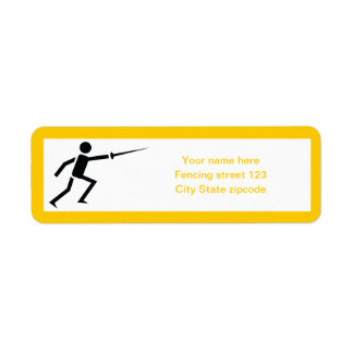 Fencer black silhouette with sword fencing custom label