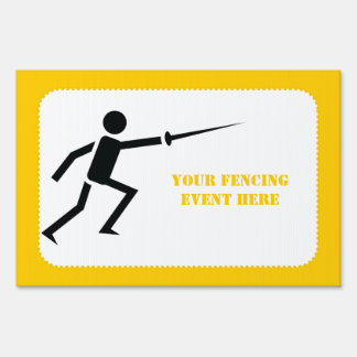 Fencer black silhouette with sword fencing custom lawn sign