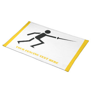 Fencer black silhouette with sword fencing custom place mats
