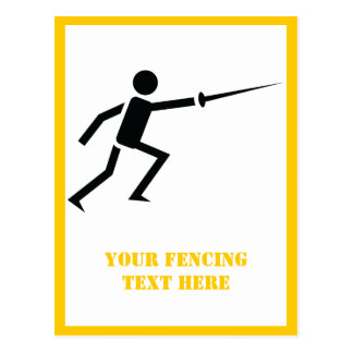 Fencer black silhouette with sword fencing custom postcard