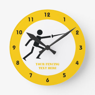 Fencer black silhouette with sword fencing custom round clock