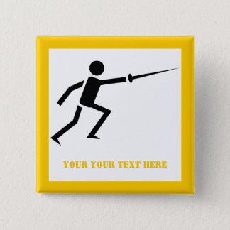 Fencer black silhouette with sword fencing yellow button