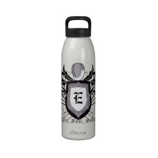 Fencing 3 Weapons Crest Silver Water Bottle