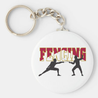 Fencing Basic Round Button Keychain