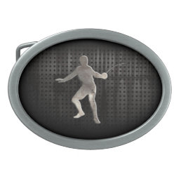 Fencing; Cool Black Oval Belt Buckle