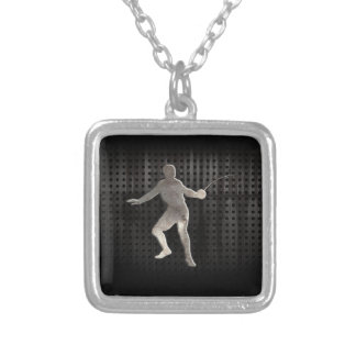 Fencing; Cool Black Silver Plated Necklace