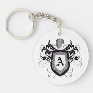 Fencing Epee White Crest Keychain