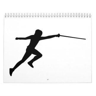 Fencing fencer wall calendar