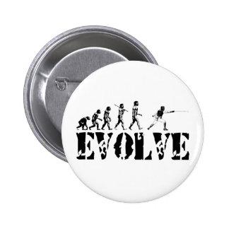 Fencing Fencer Epee Foil Sabre Evolution Sport Art Buttons