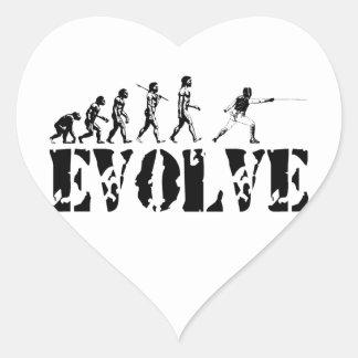 Fencing Fencer Epee Foil Sabre Evolution Sport Art Heart Sticker