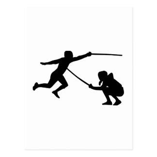 Fencing fencer postcard