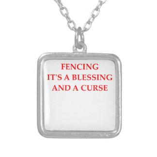 fencing fencer square pendant necklace