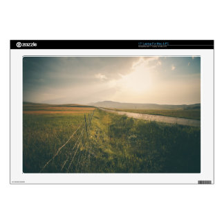 """Fencing, field and a highway 17"""" laptop skin"""