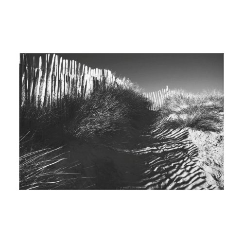 Fencing In The Dunes, fine art black and white Canvas Print