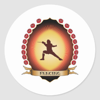Fencing Mandorla Classic Round Sticker