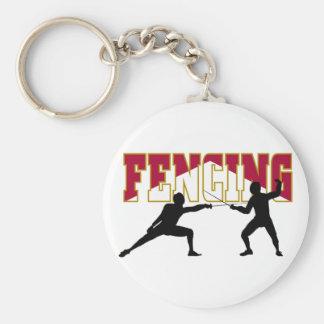 Fencing Match Basic Round Button Keychain