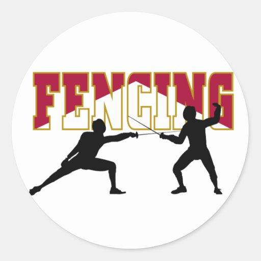 Fencing Match Classic Round Sticker
