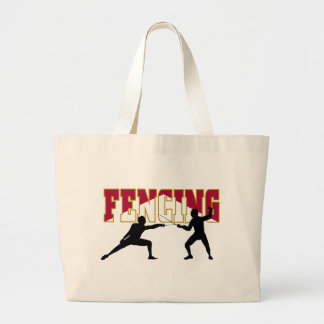 Fencing Match Large Tote Bag
