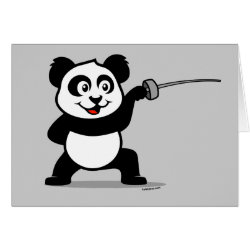 Greeting Card with Cute Fencing Panda design