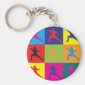 Fencing Pop Art Basic Round Button Keychain