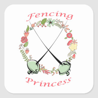 Fencing Princess Floral Foils Square Sticker