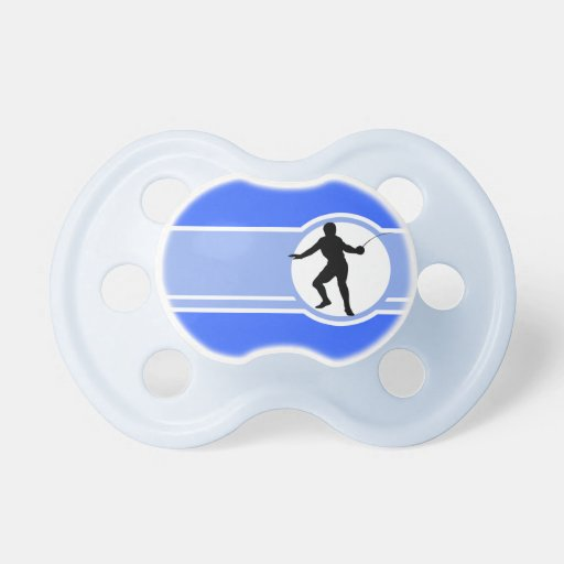 Fencing Silhouette; blue Baby Pacifier