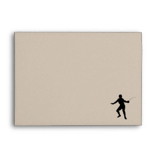 Fencing Silhouette; blue Envelopes