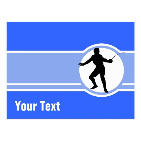 Fencing Silhouette; blue Postcard