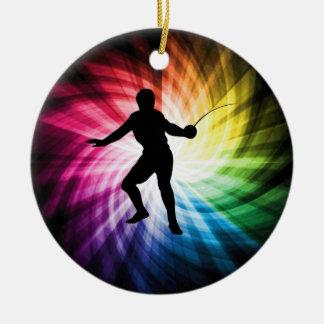 Fencing Silhouette; Spectrum Ceramic Ornament