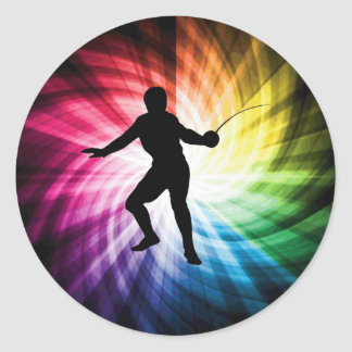 Fencing Silhouette; Spectrum Classic Round Sticker