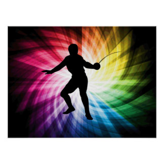 Fencing Silhouette; Spectrum Poster