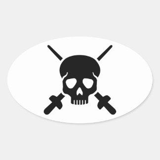 Fencing skull oval sticker
