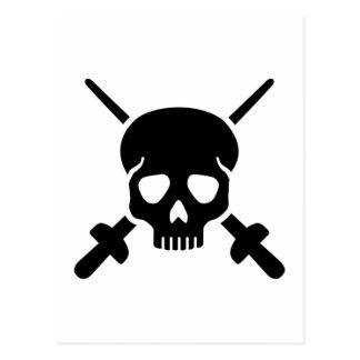 Fencing skull postcard