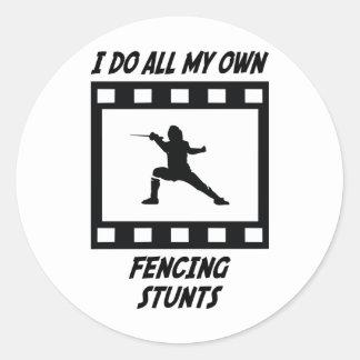 Fencing Stunts Classic Round Sticker
