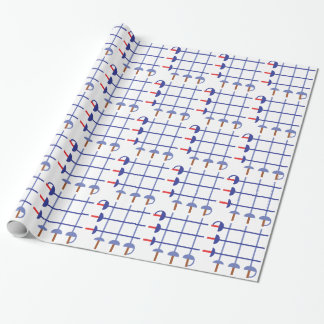 Fencing Sword Grid Wrapping Paper