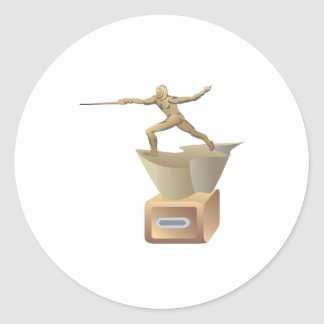 Fencing Trophy Classic Round Sticker