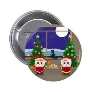 Fencing Xmas Elfs Pinback Button
