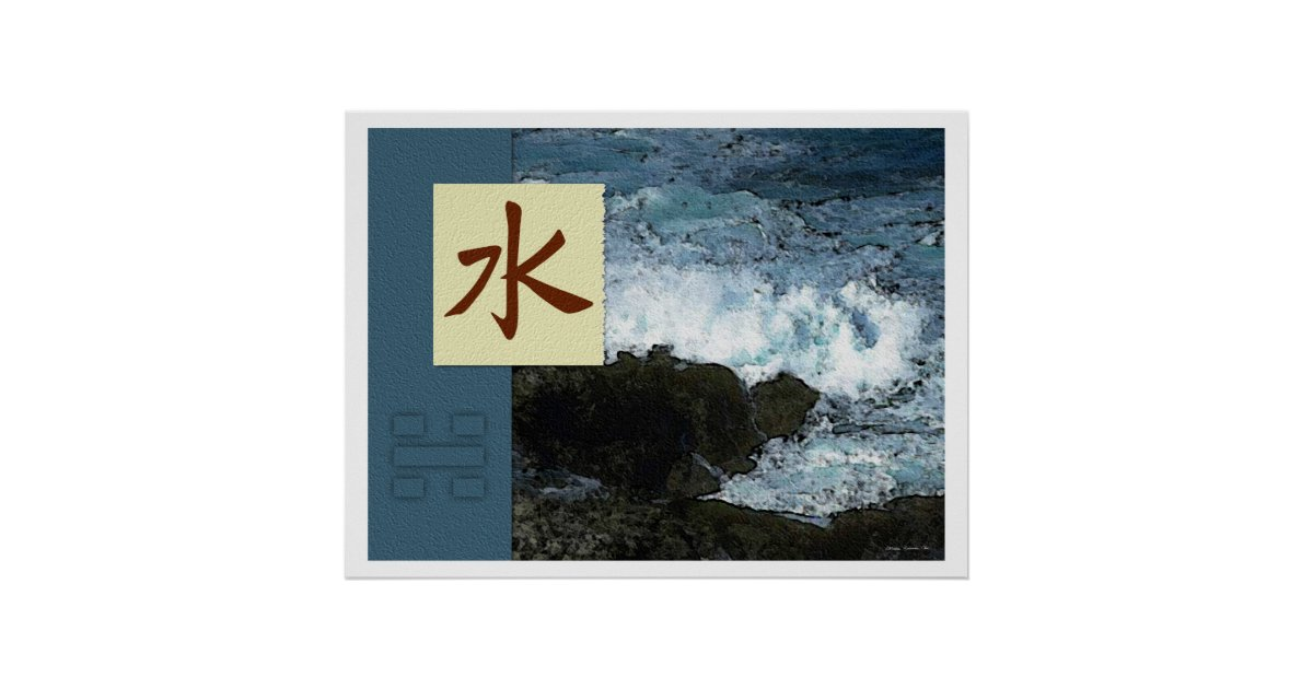 Feng shui bagua images water landscape poster zazzle for Posters feng shui