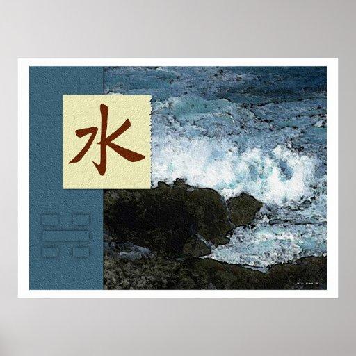 feng shui bagua images water landscape posters zazzle. Black Bedroom Furniture Sets. Home Design Ideas