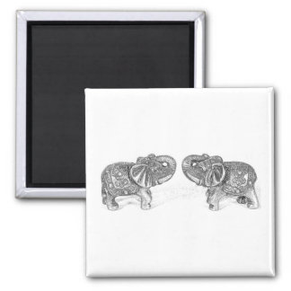 Feng Shui Double Elephant - B&W 2 Inch Square Magnet