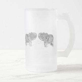 Feng Shui Double Elephant - B&W Frosted Glass Beer Mug