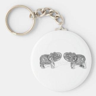 Feng Shui Double Elephant - B&W Basic Round Button Keychain