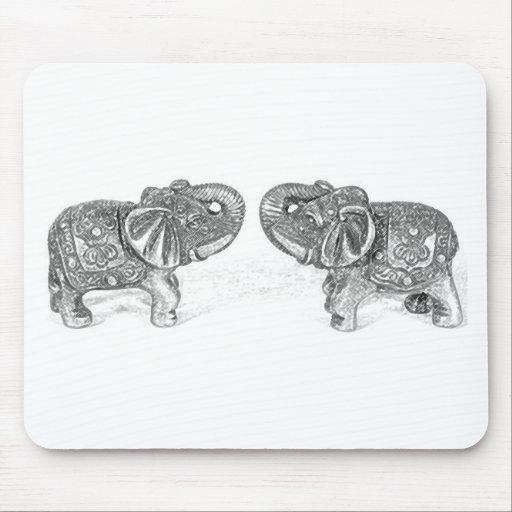 Feng Shui Double Elephant - B&W Mouse Pad