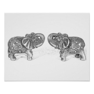 Feng Shui Double Elephant - B&W Poster