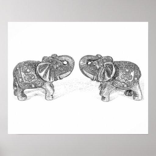Feng Shui Double Elephant - B&W Poster
