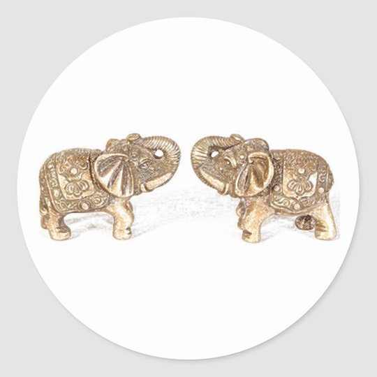 Feng Shui Double Elephant Classic Round Sticker
