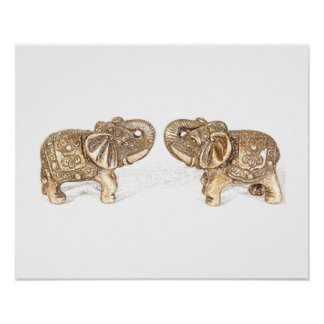 Feng Shui Double Elephant Poster