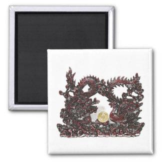 Feng Shui Dragon & Phoenix 2 Inch Square Magnet